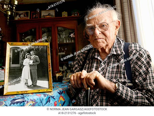 A 93-year-old man at his home
