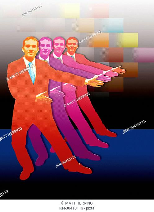 Vibrant businessmen greeting with arms outstretched