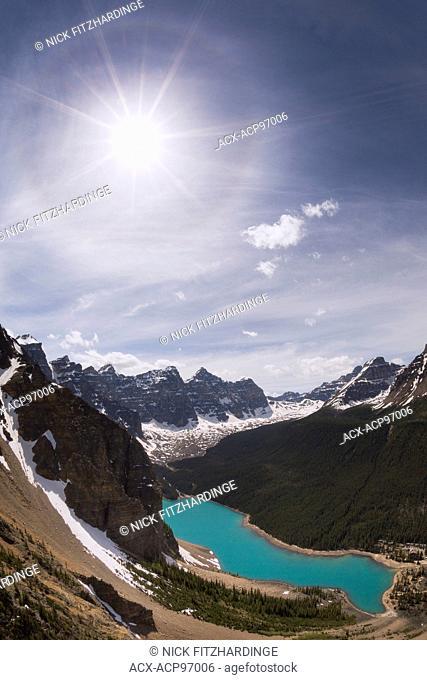 Sun halo and mountains