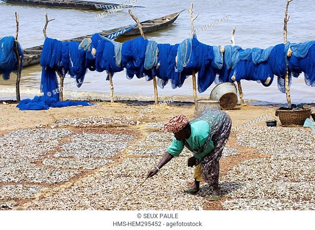 Mali, surroundings of Segou, the fish are drying on the Niger rive banks