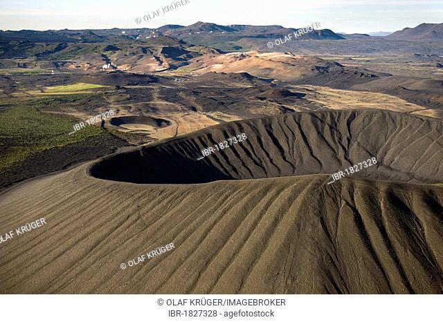 Aerial view, Hverfjall crater at Lake Myvatn, North Iceland, Iceland, Europe