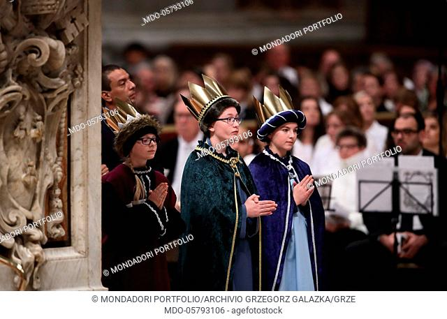Children dressed as Re Magi during the Holy Mass presided over by Pope Francis (Jorge Mario Bergoglio), on the occasion of the solemnity of Mary, Mother of God