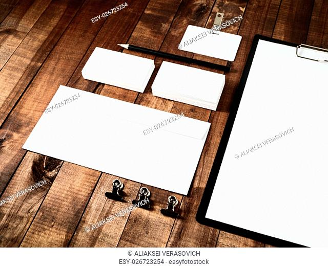 Blank stationery template. Blank corporate identity set for branding identity. Blank letterhead, business cards, badge, envelope and pencil
