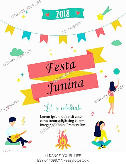 Bright poster temlate with colorful elements and minimalistic people for Festa Junina