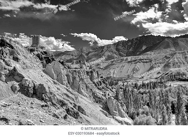 Ruins and Basgo Monastery surrounded with stones and rocks , Leh, Ladakh, Jammu and Kashmir, India , black and white image