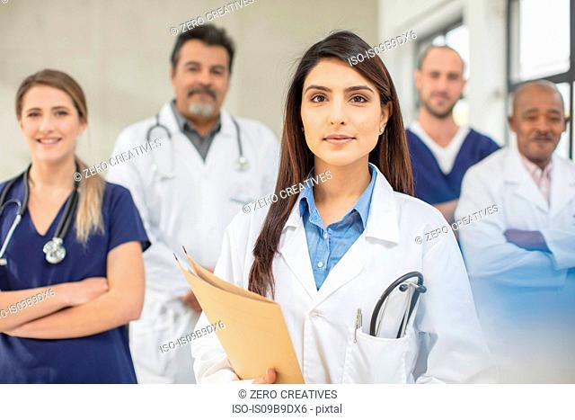 Portrait of male and female doctors