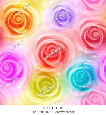 Seamless Roses Pattern. Vector colorful, EPS 10