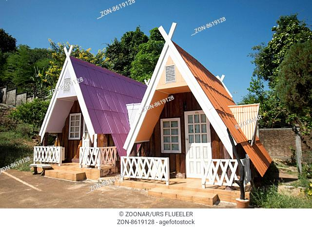 a Bungalo Hotel in the Village of Thong Pha Phum north of the City of Kanchanaburi in Central Thailand in Southeastasia