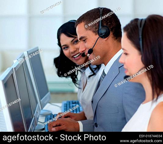 Hansome businessman in a call canter