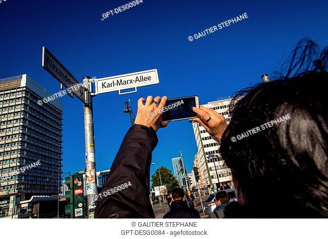 KARL MARX AVENUE NEAR ALEXANDERPLATZ, BERLIN, GERMANY
