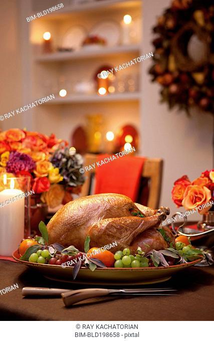 Thanksgiving roast turkey on platter