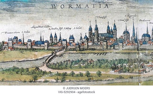 24.05.2015, Germany, Wittenberg, View of Worms by FRANZ HOGENBERG. - Wittenberg, Germany, 24/05/2015