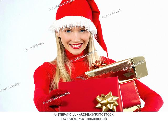 Rich, colorful series of attractive young woman in santa's hat with presents