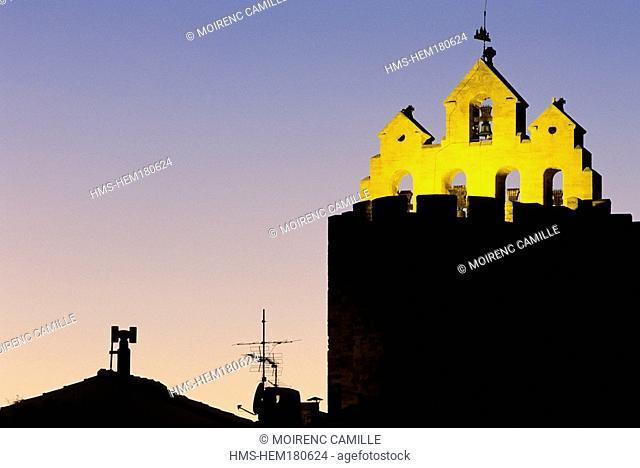 France, Bouches du Rhone, Les Saintes Maries de la Mer, bell tower