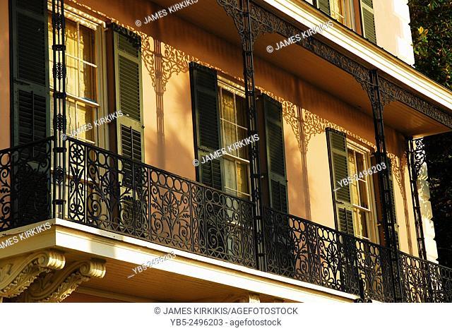 Detail of the Wrought Iron Balcony, Edmonston Alston House, Charleston, SC