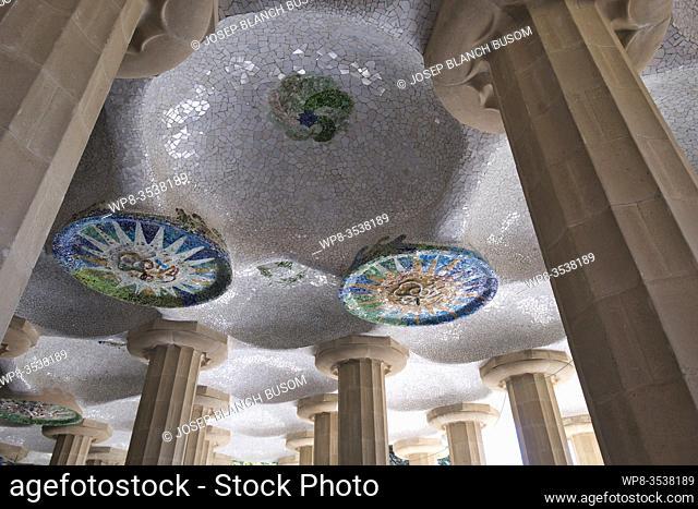 Mosaic decorations at Parc Güell by Antoni Gaudí Barcelona Catalonia, Spain