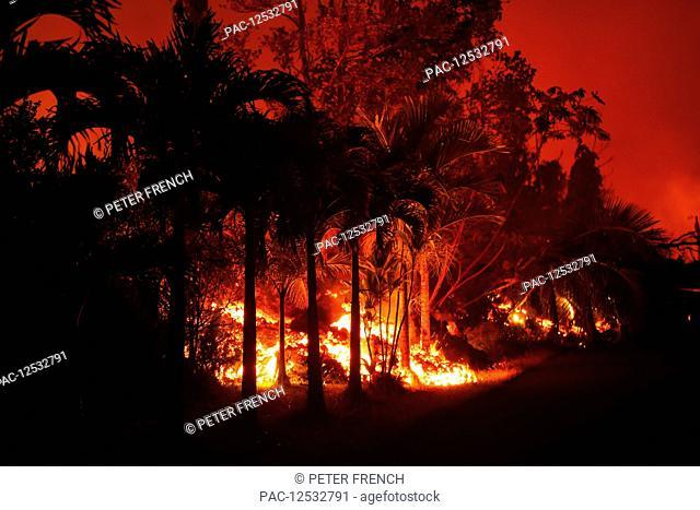 May 2018 eruption, Leilani Estates subdivision, East Rift Zone Kilauea Volcano, Big Island of Hawaii; Pahoa, Island of Hawaii, Hawaii, United States of America
