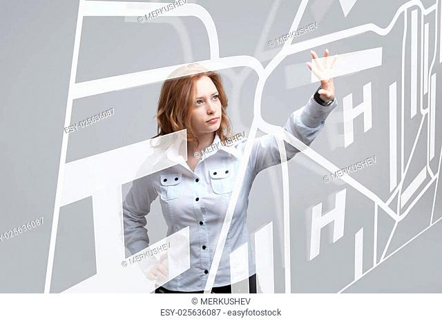 Future technology, navigation, location concept. Woman showing transparent screen with gps navigator map. Future technology, navigation, location concept