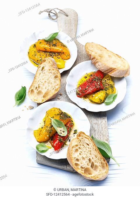 Marinated peppers with white bread