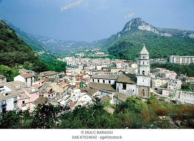 Italy - Campania Region - Picentini Mountains - Campagna - Landscape with Cathedral