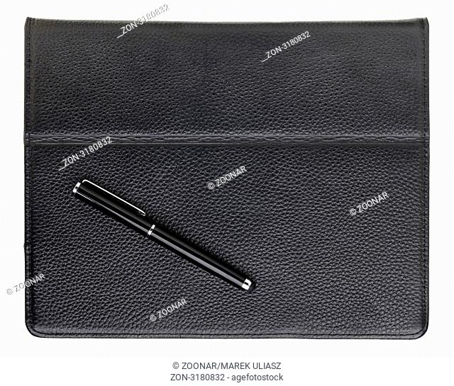 stylus pen and tablet computer in black leather case