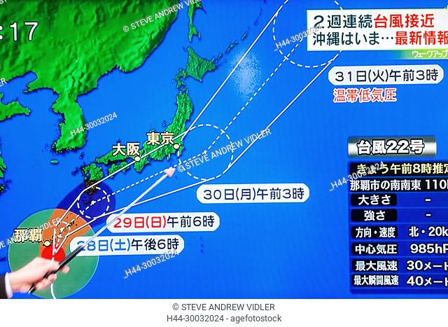 Japan, Japanese TV Weather Forecast Indicating Path of Approaching Typhoon