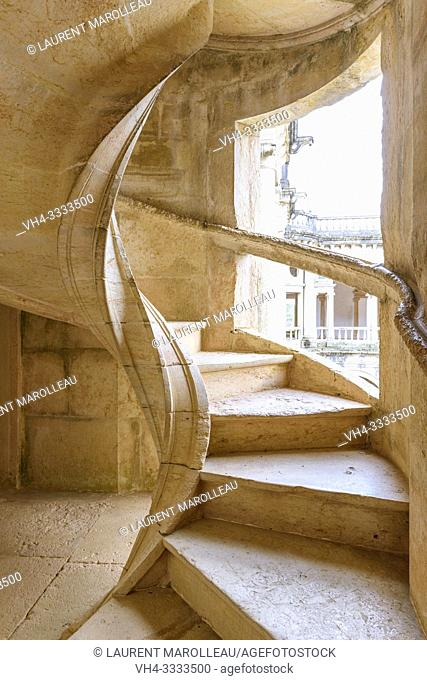 Helicoidal stairway of the cloister of John III, Convent of Christ, Tomar, Santarem District, Centro Region, Portugal, Europe