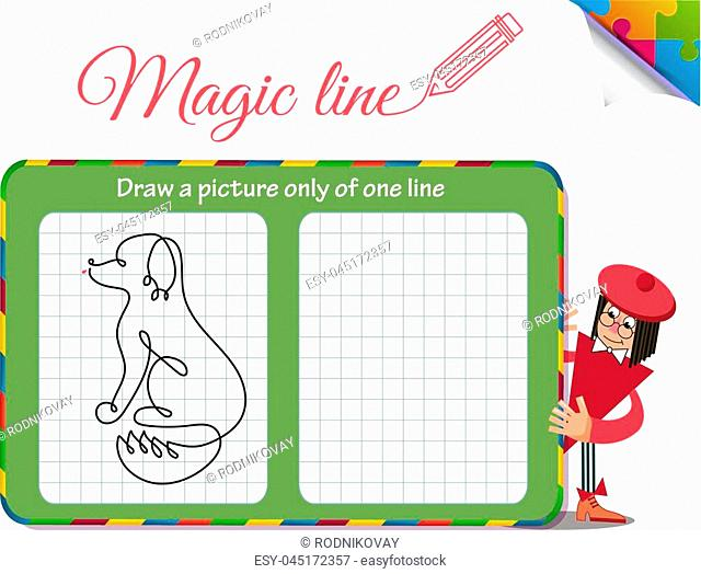 Visual Game for children. Coloring book education. Task: Draw a picture only of one line dog
