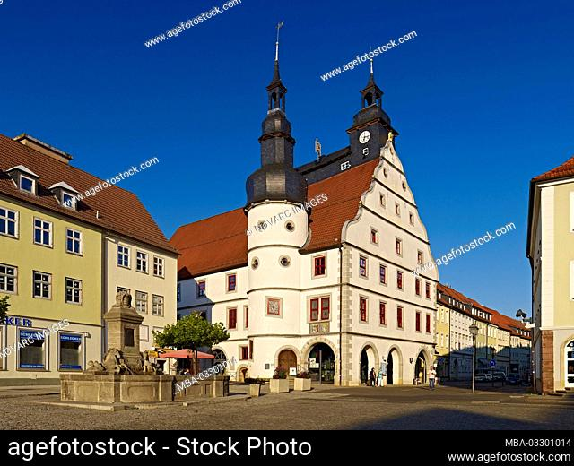 Town hall at the market in Hildburghausen, Thuringia, Germany