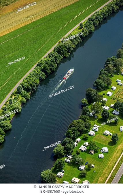 Aerial photograph, excursion boat on Ruhr, Ruhr Valley, Ruhr floodplains, south of Mülheim an der Ruhr, Ruhr district, North Rhine-Westphalia, Germany