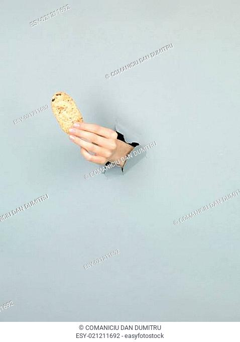 female hand holding delicious biscuit