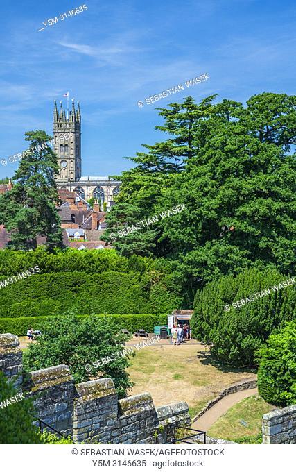 St. Mary's church seen from Warwick Castle, Warwickshire, West Midlands, England, United Kingdom, Europe