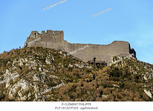 Ruins of the medieval Château de Montségur castle on hilltop, stronghold of the Cathars in the Ariège department, Occitanie, France