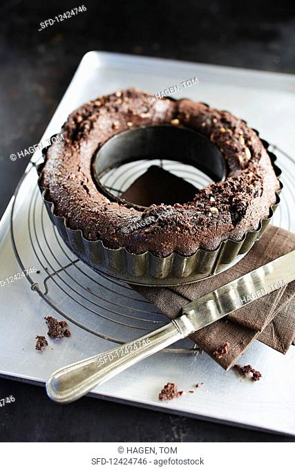 A red wine cake in a baking tin