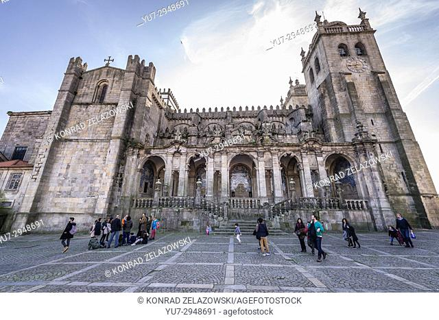 Baroque loggia to the lateral facade of Roman Catholic Se Cathedral in Porto city on Iberian Peninsula, second largest city in Portugal