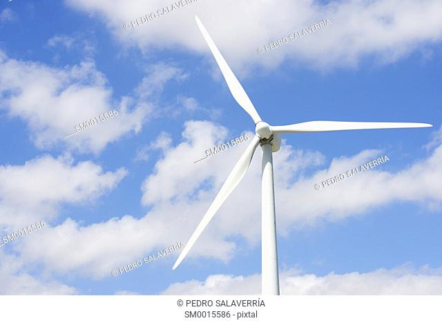 Windmill for electric power production, Pozuelo de Aragon, Zaragoza Province, Aragon, Spain