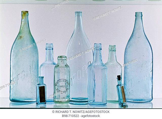 Historic Bedford Springs Resort, antique glass water bottles