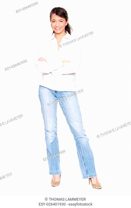 middle-aged with a white blouse and blue jeans against white background