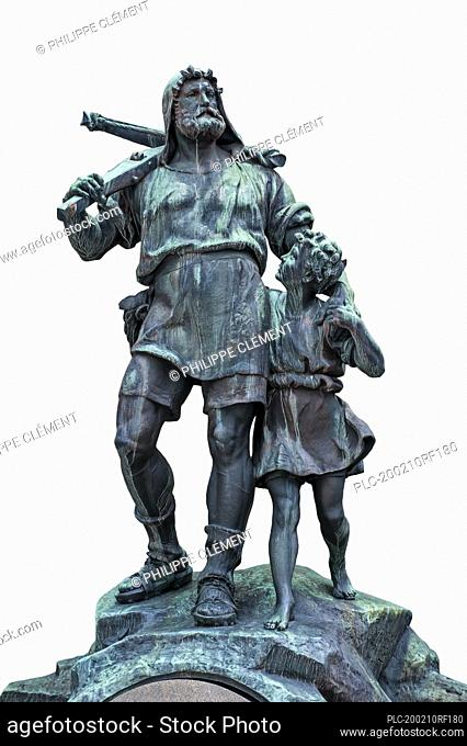 Statue of William Tell and his son, medieval folk hero of Switzerland against white background