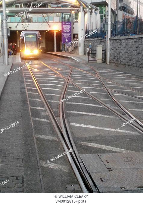 The LUAS tram at Connolly Station, Dublin, Ireland