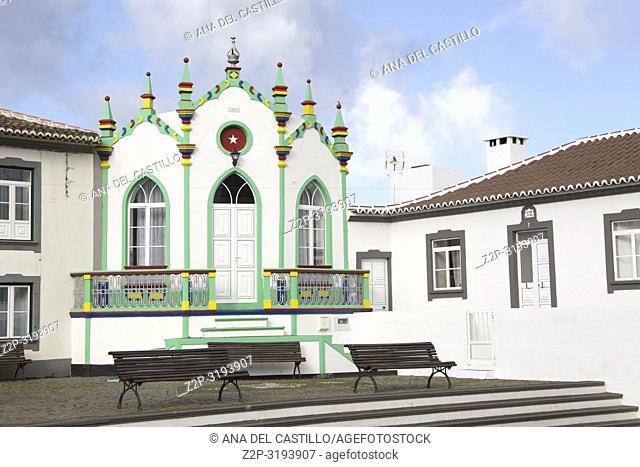 The green chapel named imperio at Serreta Typical village in Terceira island Azores Portugal