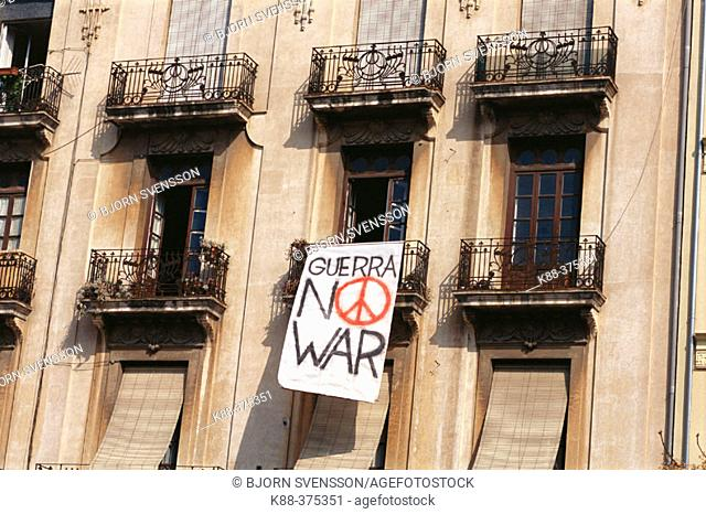 Sign against war in Iraq, 2004. Valencia. Spain