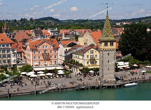 The Mangturm tower in the port of Lindau, Lindau am Bodensee, Lake Constance, Bavaria, Germany, Europe