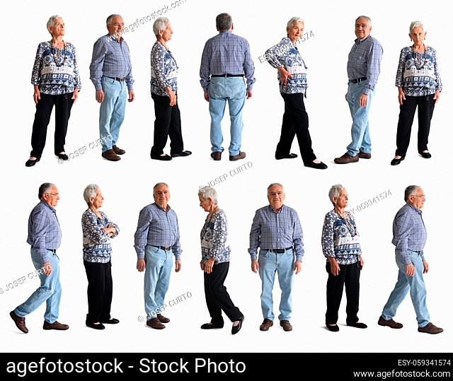 line of various pose of same couple on white background
