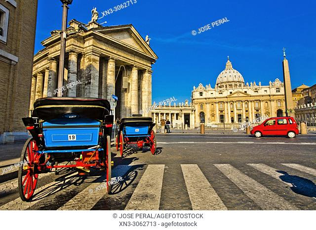 Horse carriages waiting for tourists in St Peter's Basilica, Papal Basilica of St. Peter, At left Bernini's colonnade, St Peter's square, Vatican city, Rome