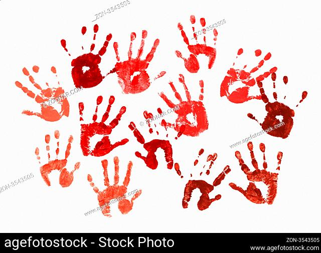 Bloody spooky hands print over white background