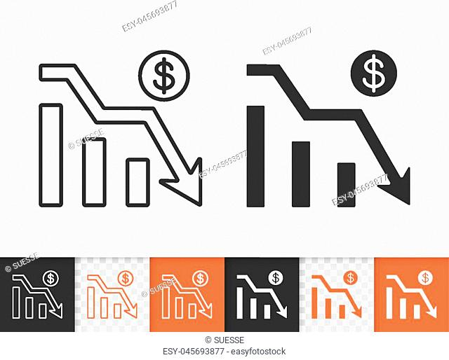 Graph down black linear and silhouette icons. Thin line sign of bankrupt. Arrow below outline pictogram isolated on white transparent background