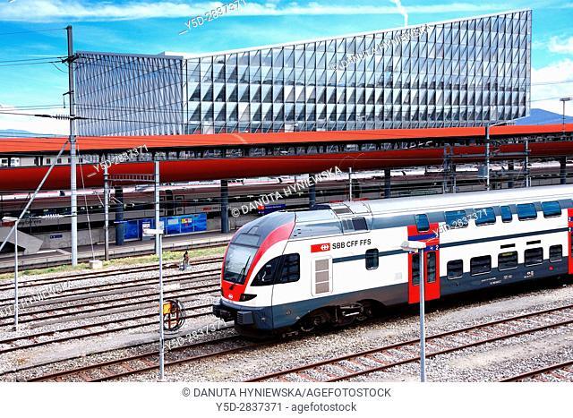 Train station Geneve-Secheron, behind the JTI Building - headquarters of Japan Tobacco International, JTI, by SOM Architects, Geneva, Switzerland