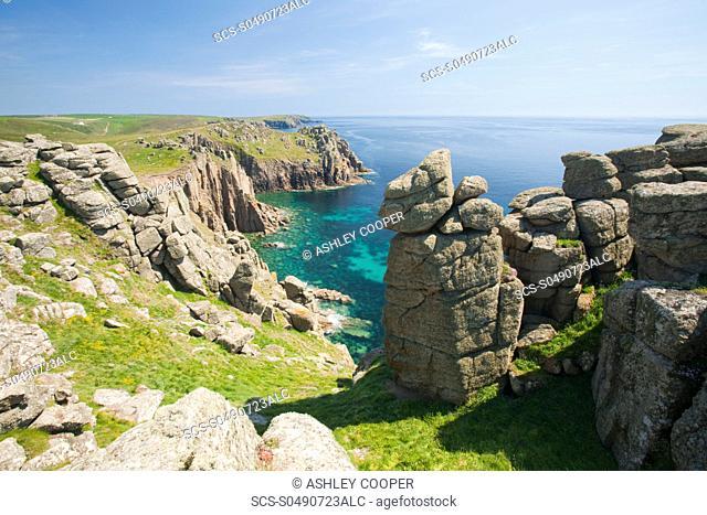 Cornish coastal scenery at Lands End, Cornwall, UK