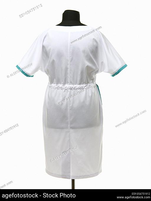 Female medical gown on a mannequin for clothes on a white background, rear view